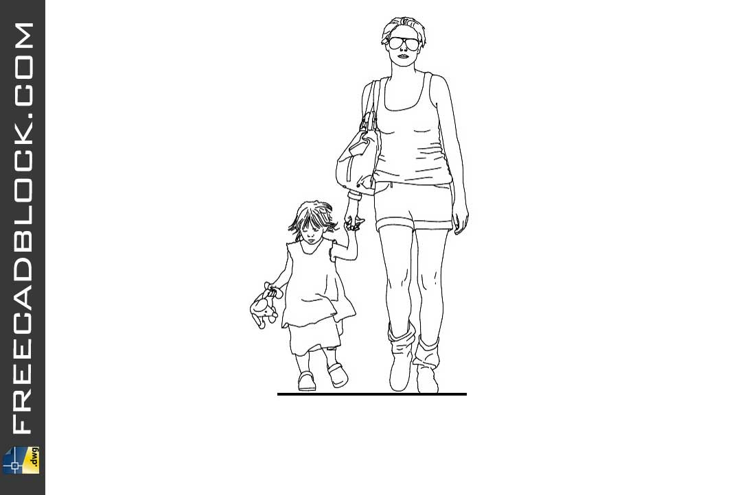 Mother and son dwg cad