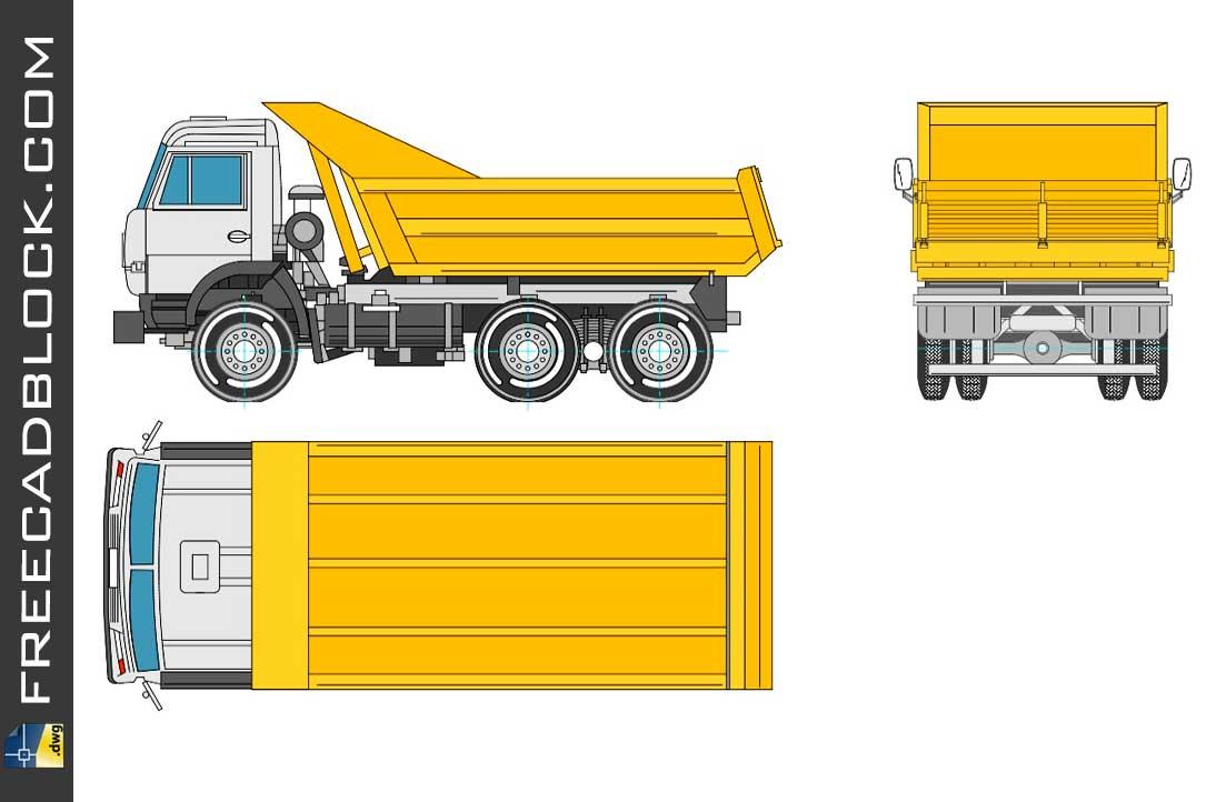 Drawing Kamaz dump truck cad blocksa