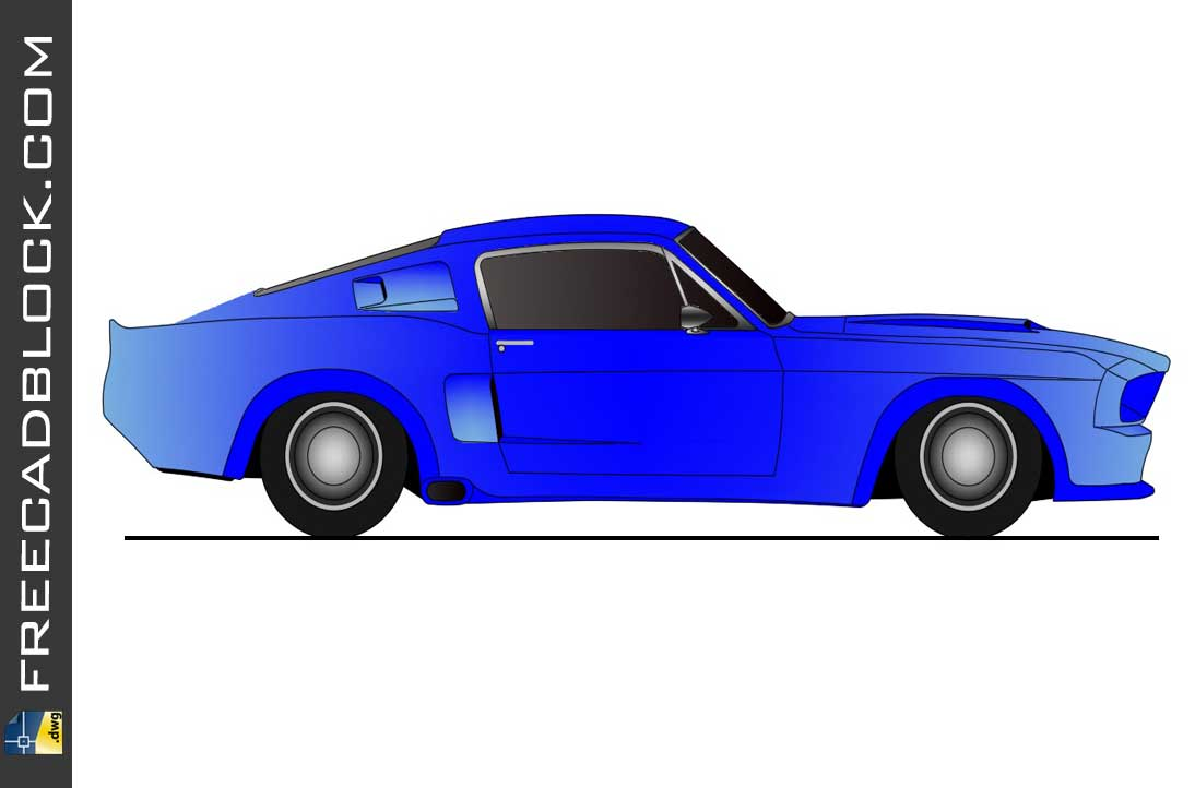 Drawing Ford mustang 1969 dwg