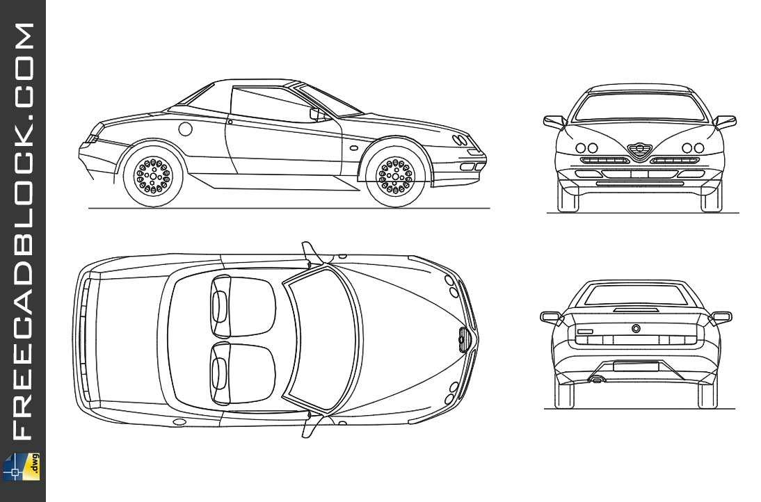 Drawing Alfa romeo spider dwg car autocad