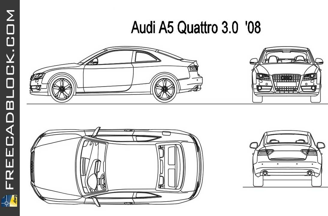 Drawing Audi A5 Quattro 3.0 2008 dwg