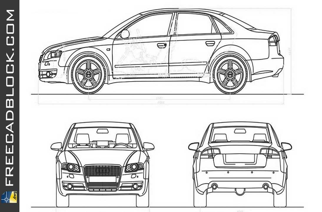 Drawing Audi a4 dwg blocks