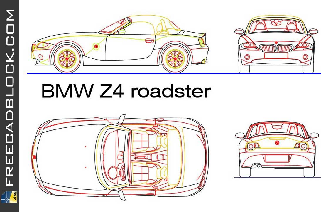 Drawing BMW Z4 dwg in Autocad