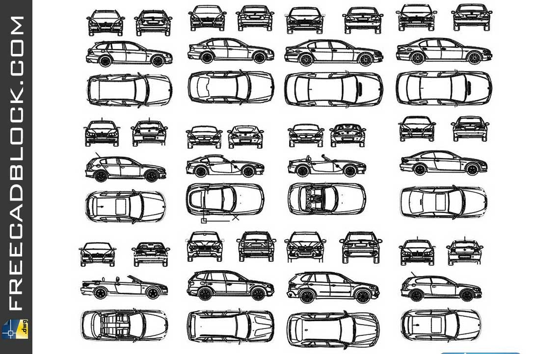 Drawing Bmw Brand Cars dwg in Autocad