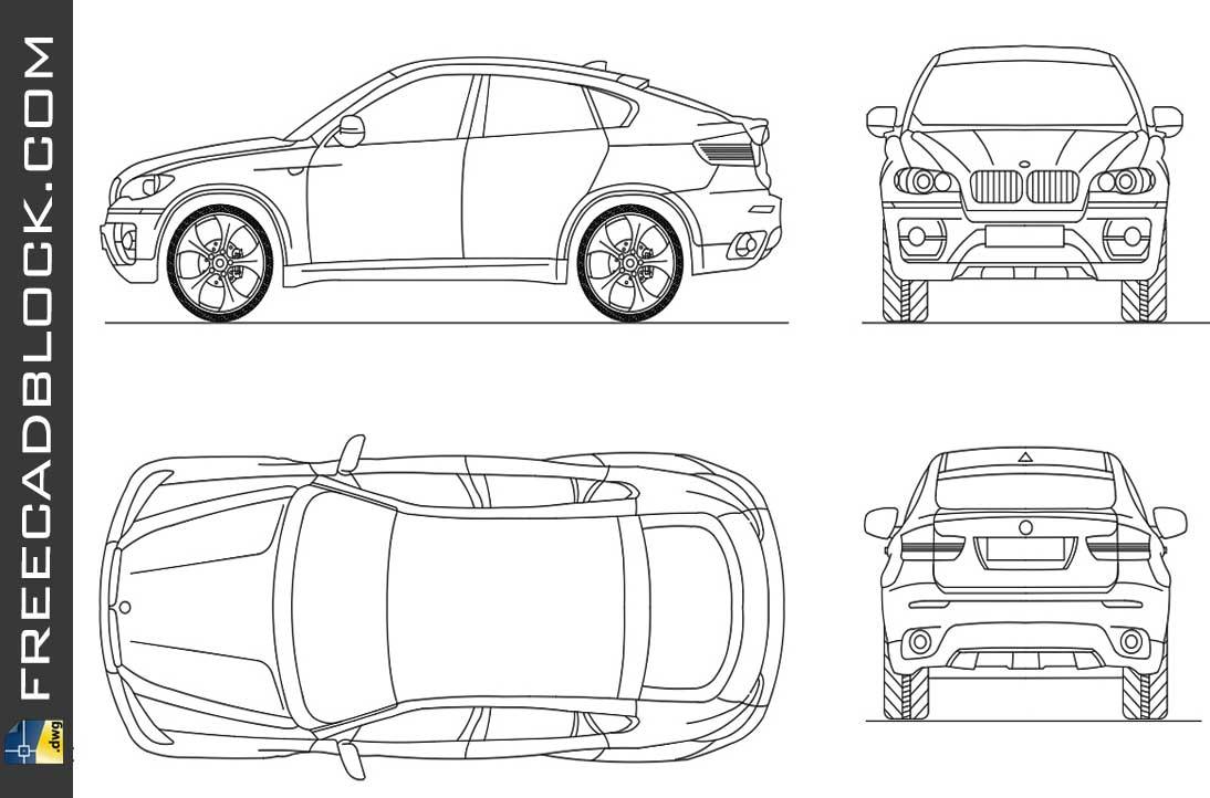 Drawing Bmw x6 dwg autocad blocks