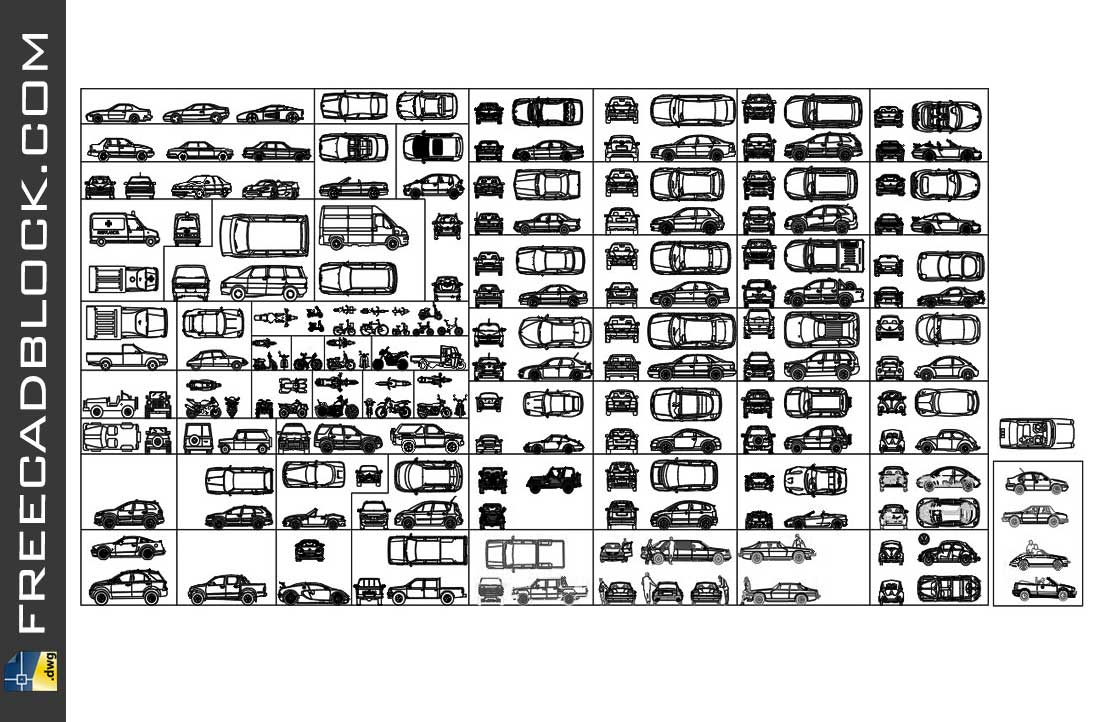 drawing Cars blocks in Autocad DWG