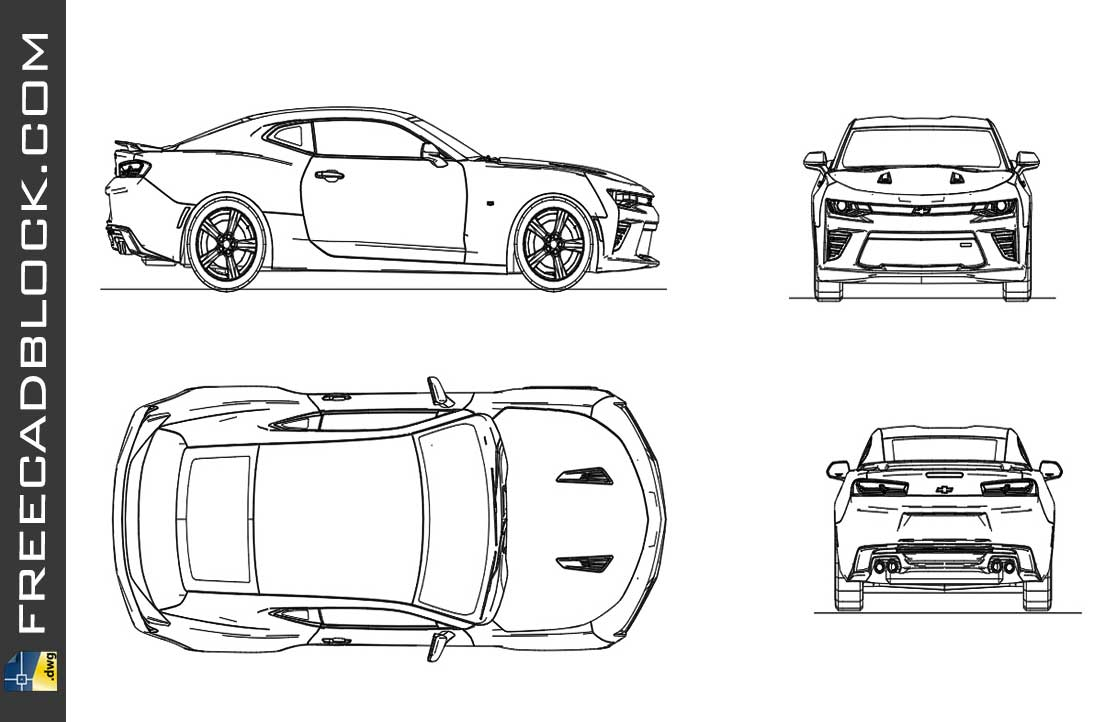 Drawing Chevrolet Camaro 2017 dwg autocad