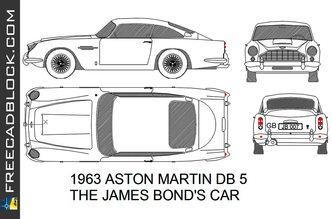 Aston Martin DB5 1963 Dwg Drawing in Autocad