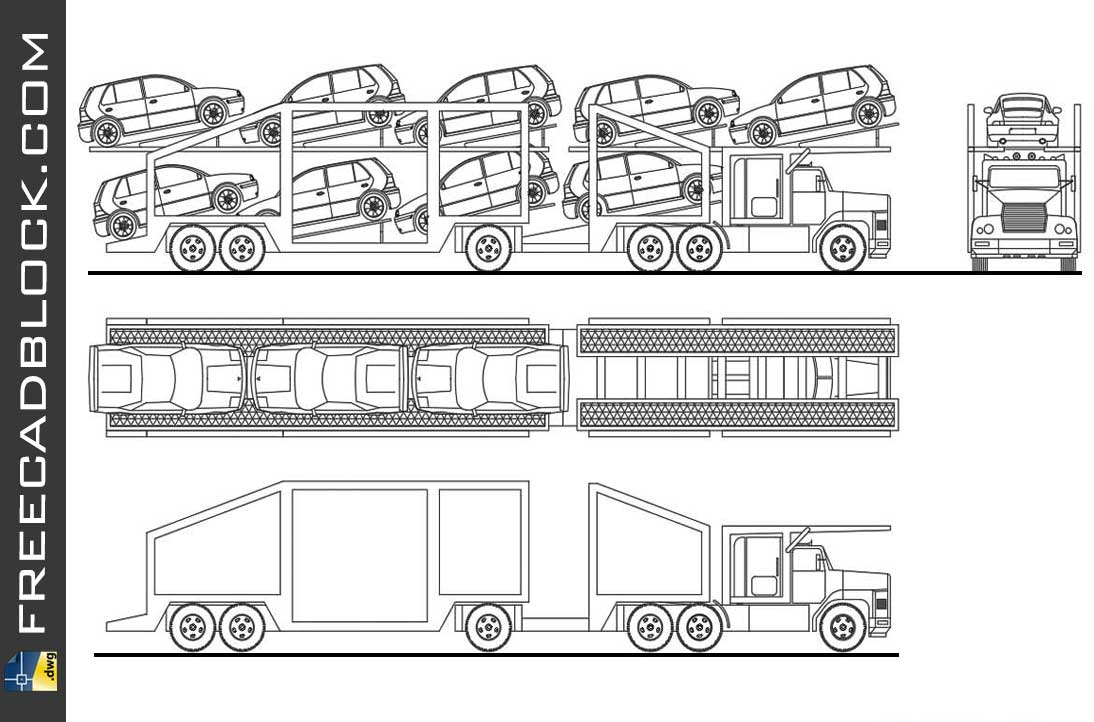 Drawing Carriage for Transport of Vehicles dwg