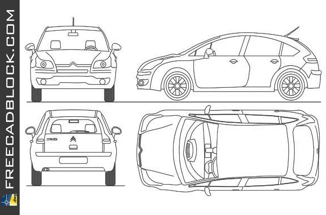 Drawing Citroen C4 dwg in Autocad