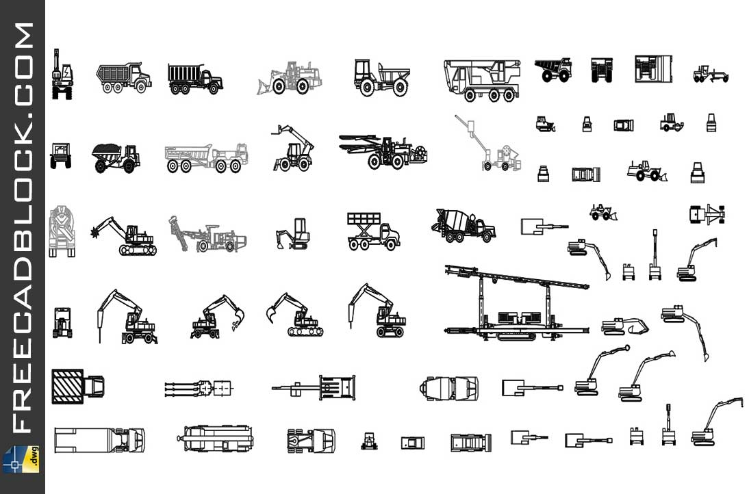 Drawing Construction vehicles dwg