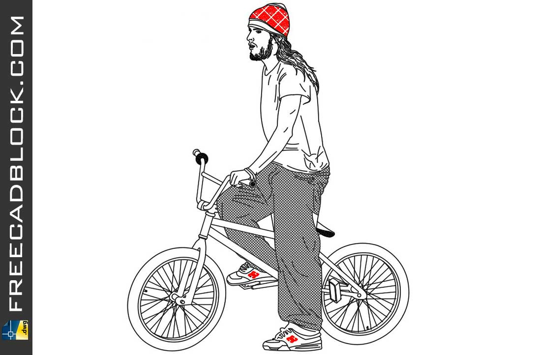 Drawing Cyclist with bike dwg in Autocad