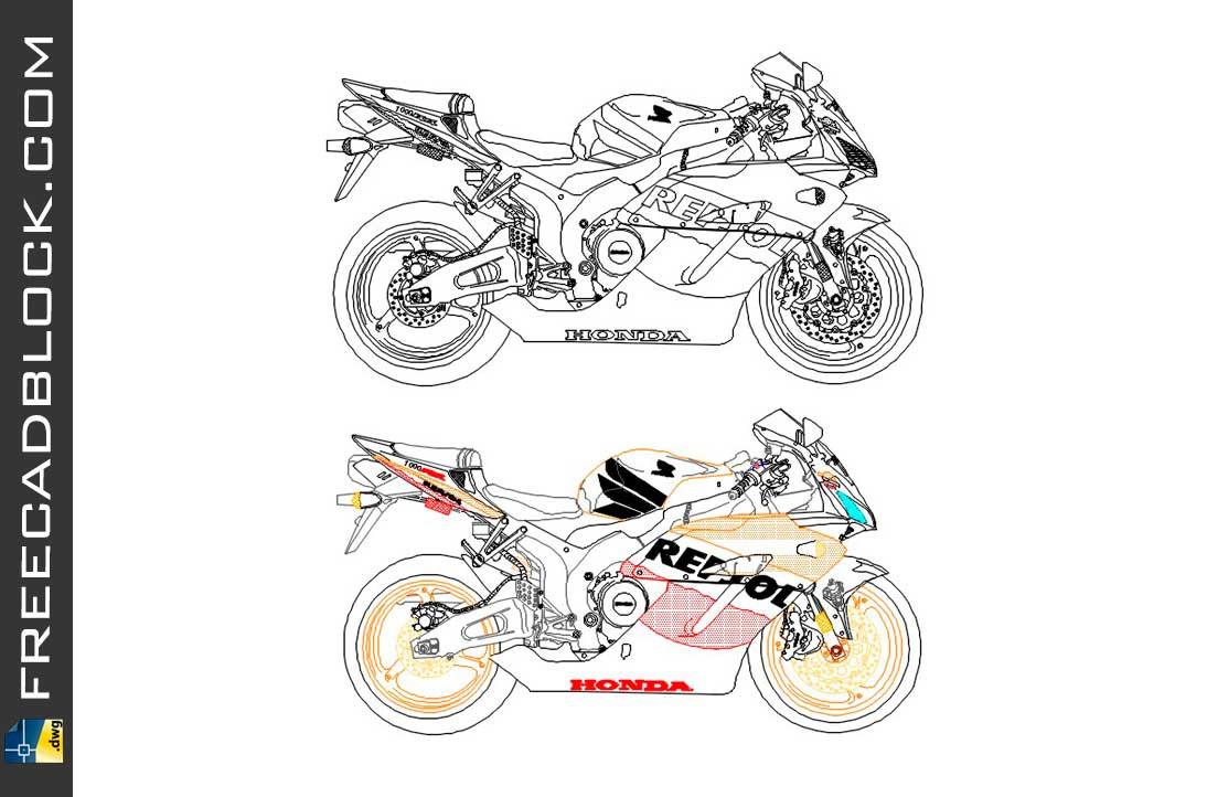 Drawing Honda CBR 1000 RR dwg for Autocad