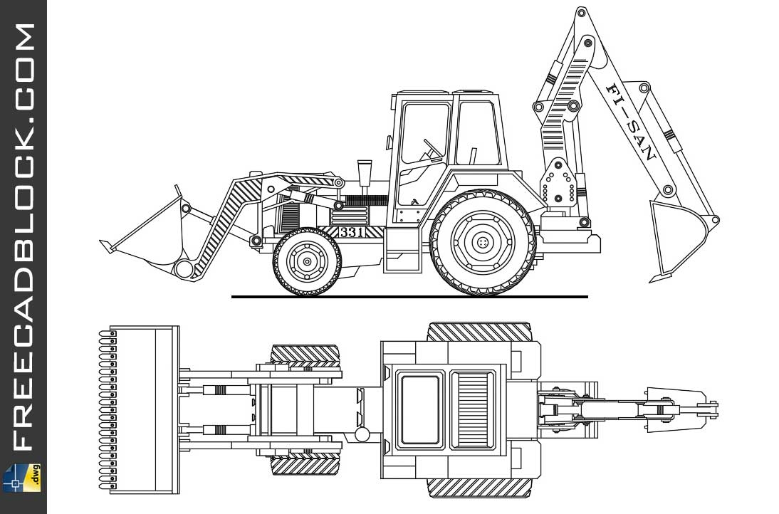 Drawing Excavator Loader 331 dwg in Autocad
