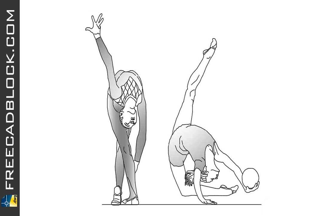 Drawing Gymnastics in rhythmic dwg in Autocad