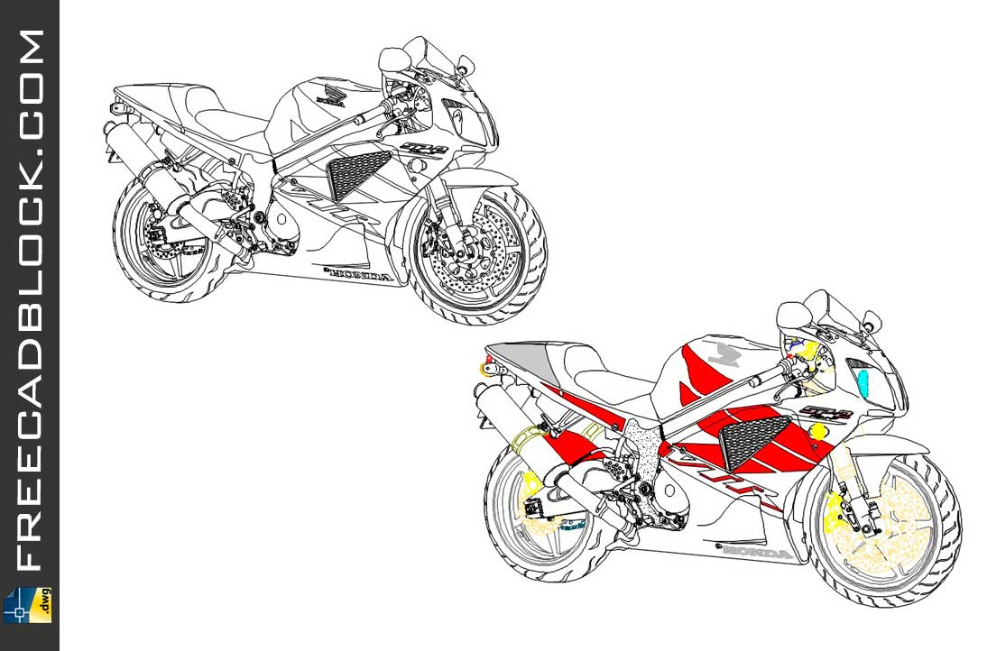 Drawing Honda VTR 1000 SP2 dwg for Autocad