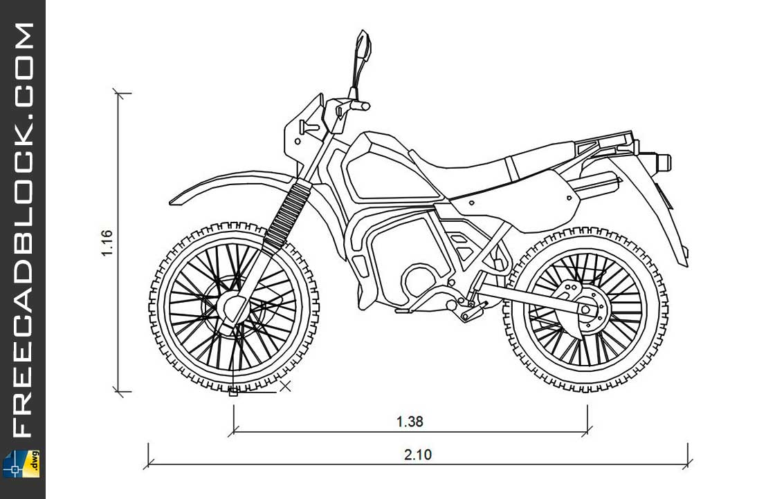 Drawing Kawasaki KMX 125 (1998) dwg for Autocad