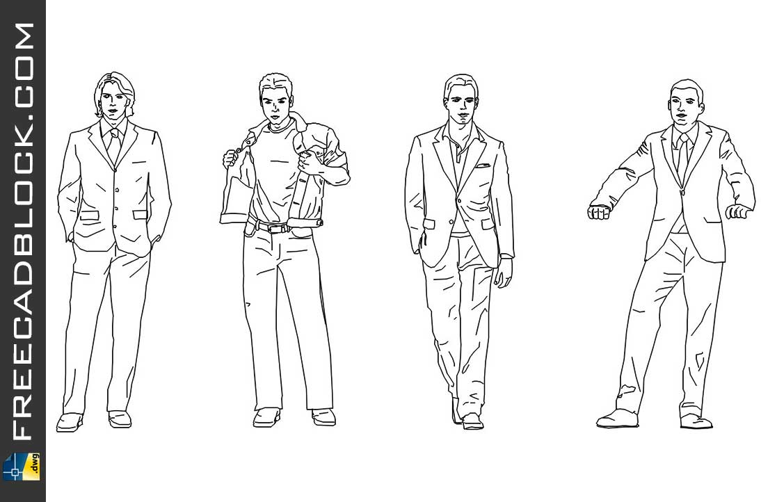 Drawing Men in suits dwg in Autocad