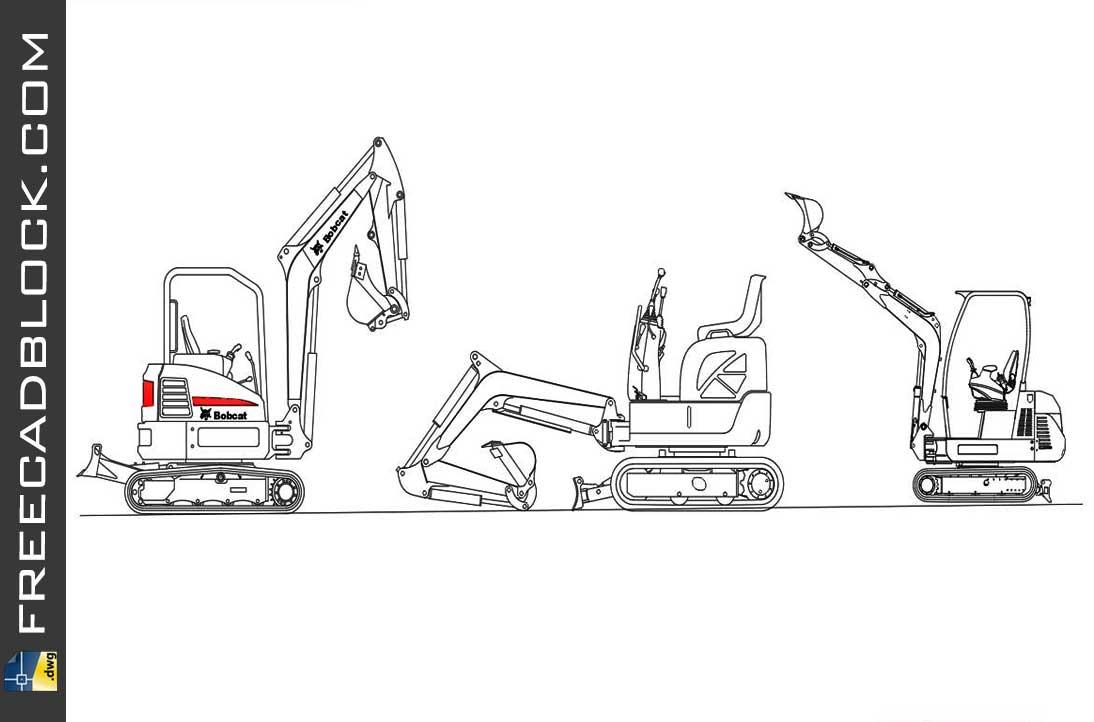 Drawing Mini Excavator dwg in Autocad