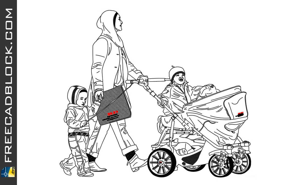 Drawing Mom and baby stroller dwg in Autocad