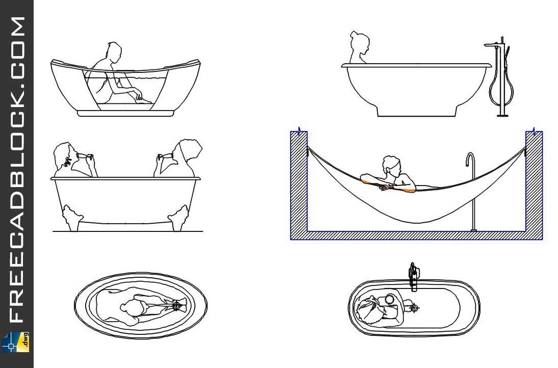 Drawing People in Bathtub dwg in Autocad
