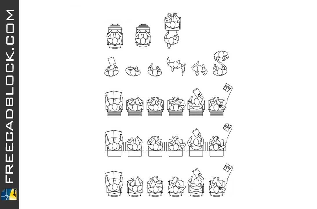 Drawing People in top view dwg