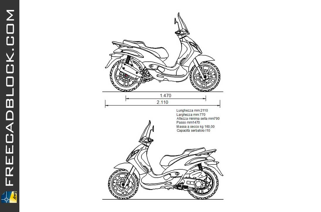 Drawing Piaggio Beverly dwg for Autocad