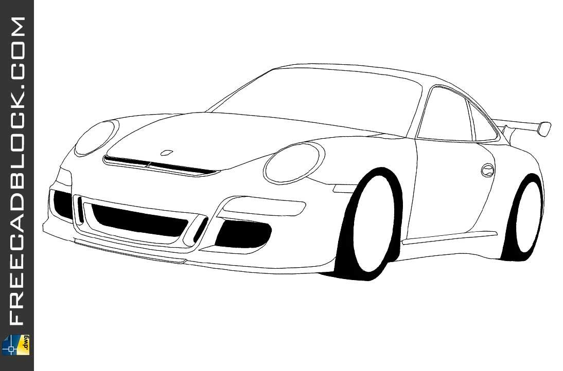 Drawing Porsche 911 GT3 dwg in Autocad