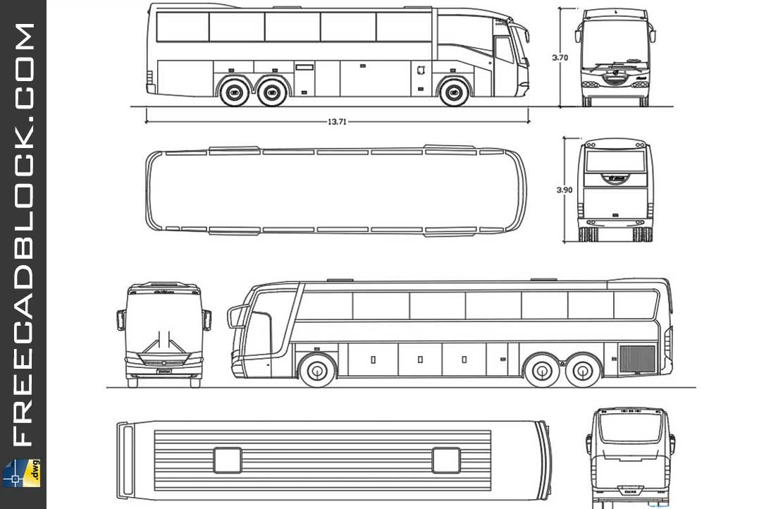 Drawing Pullman buses dwg in Autocad