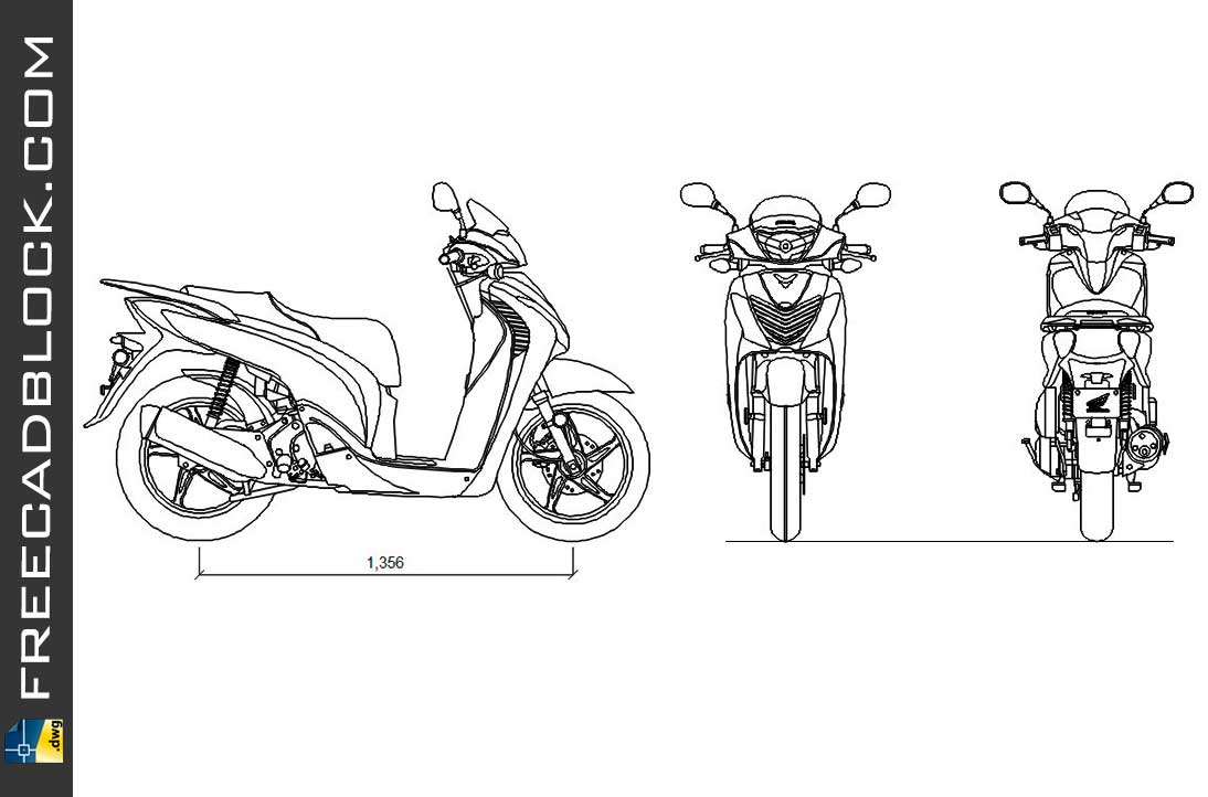 Drawing Scooter Honda SH 150 i dwg for Autocad