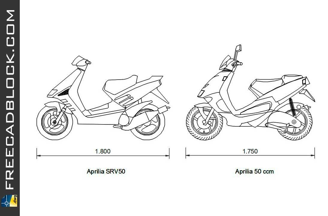 Drawing Scooters Aprilia dwg for Autocad