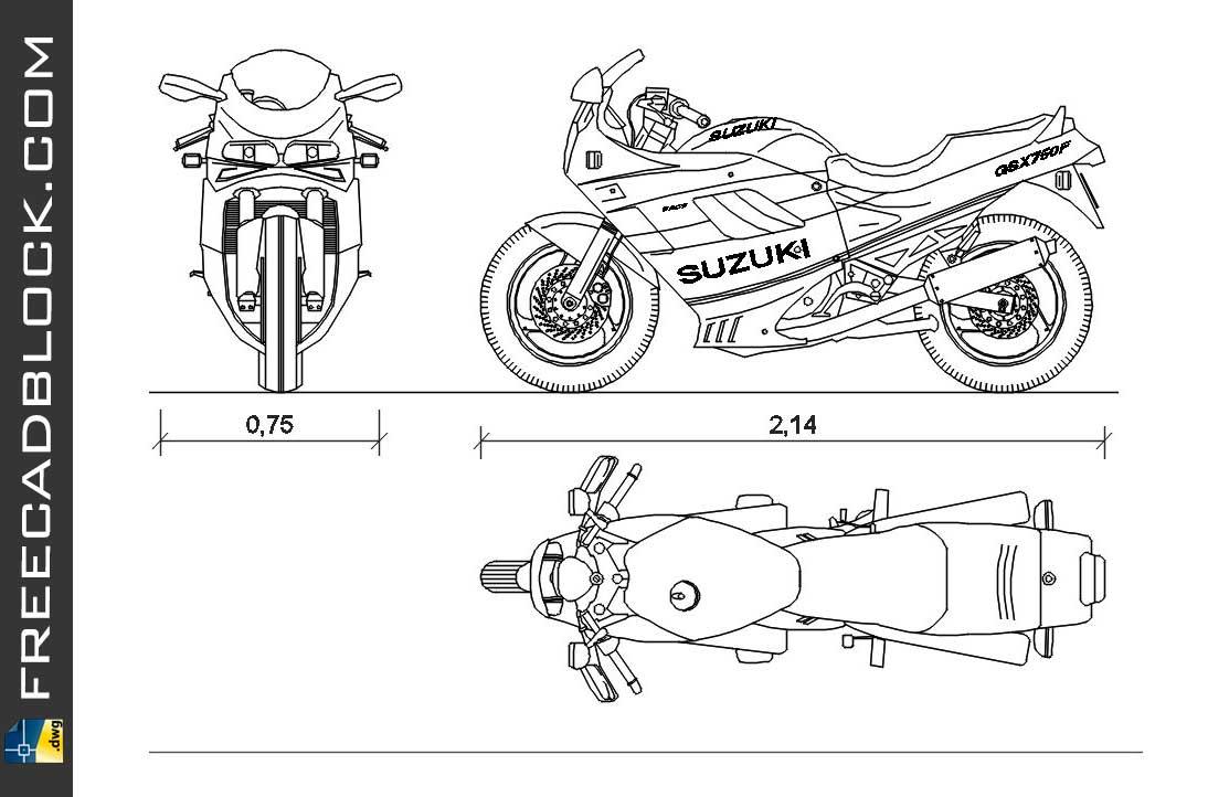 Drawing Suzuki GSX 750F dwg for Autocad