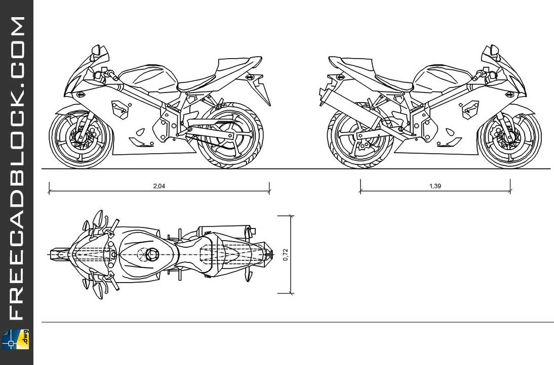 Drawing Suzuki GSX-R750 dwg for Autocad