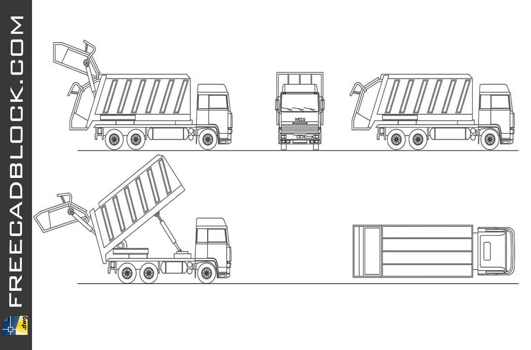 Drawing truck for garbage collection dwg in Autocad