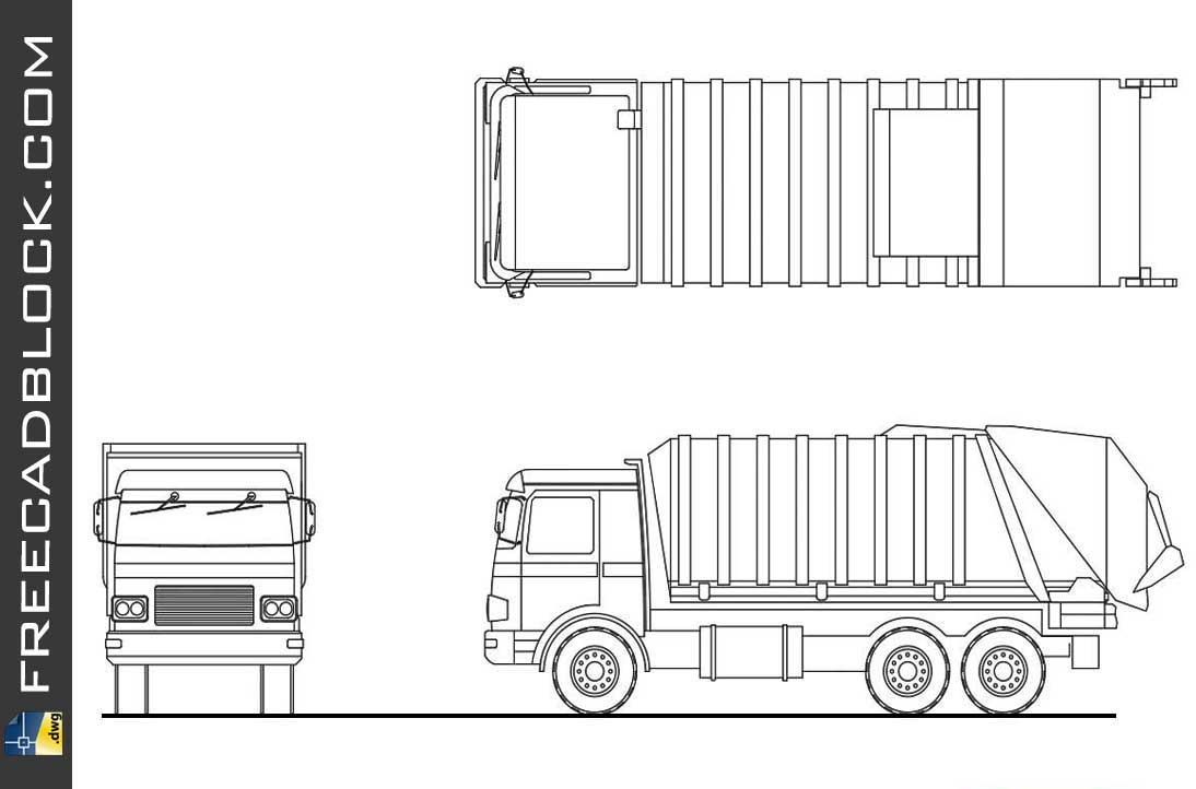 Drawing truck for urban rubbish transport dwg in Autocad