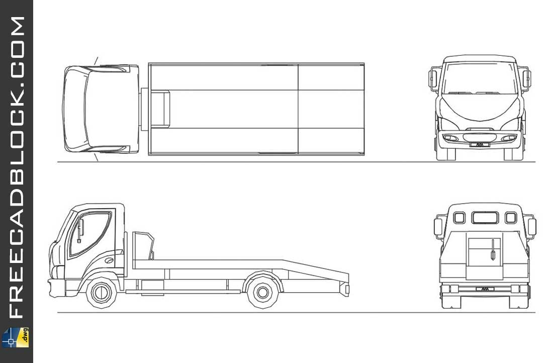 Drawing truck with platform dwg in Autocad