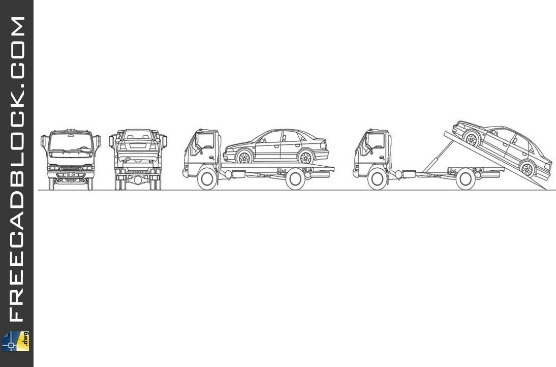 Drawing truck with winch for vehicles dwg cad