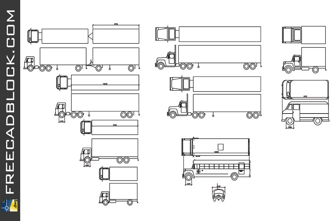 Drawing Trucks Blocks dwg in Autocad