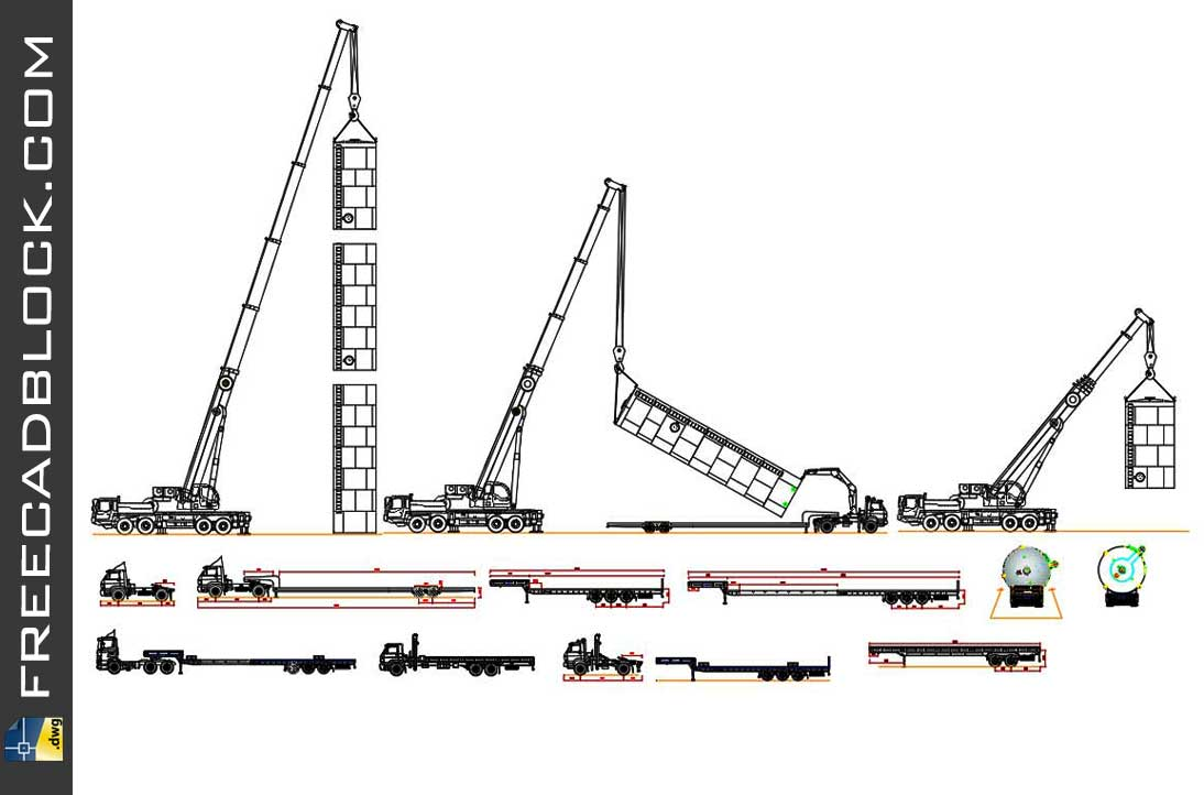 Drawing trucks, munck and cranes dwg