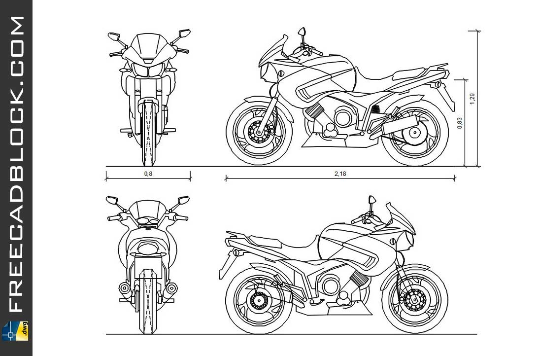 Drawing Yamaha TDM dwg for Autocad