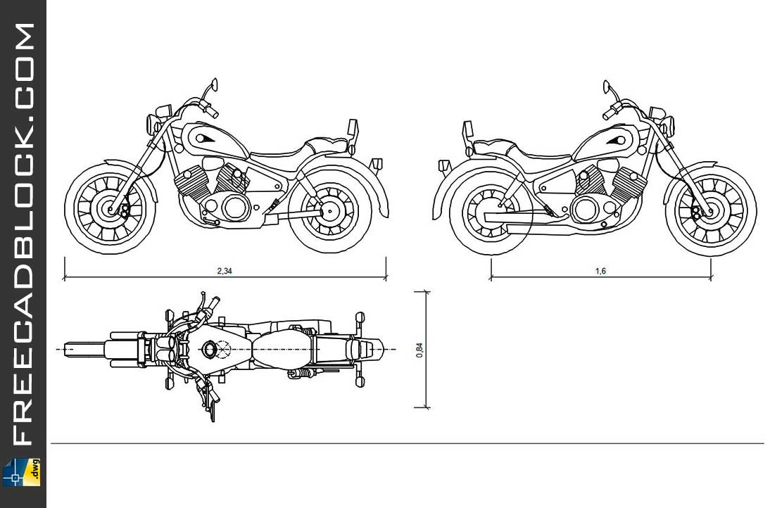 Drawing Yamaha XV-1100 dwg for Autocad