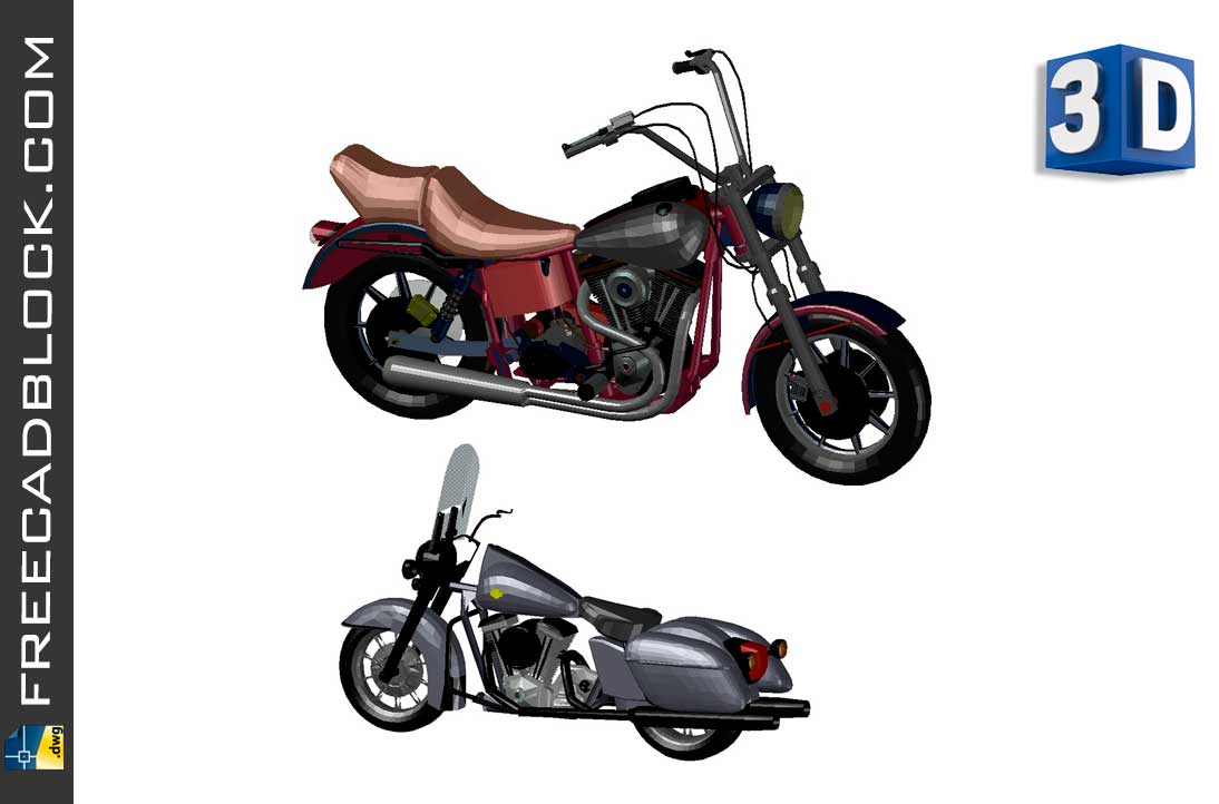 Drawing Harley Davidson 3D dwg for Autocad