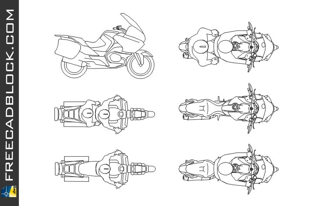 Drawing Moto Bmw R 1200 RT dwg for Autocad
