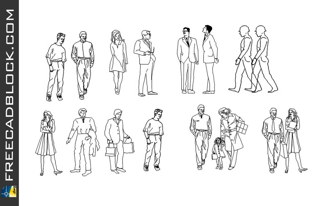 Drawing 2d silhouettes of people dwg