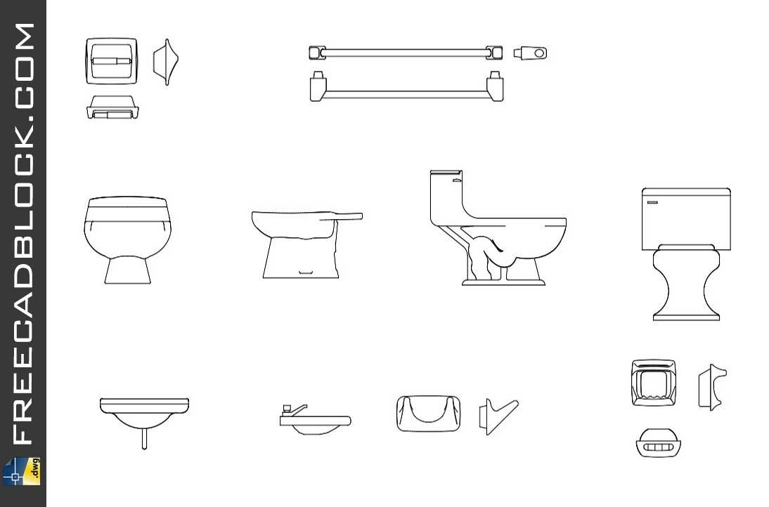 Bathroom accessories dwg cad