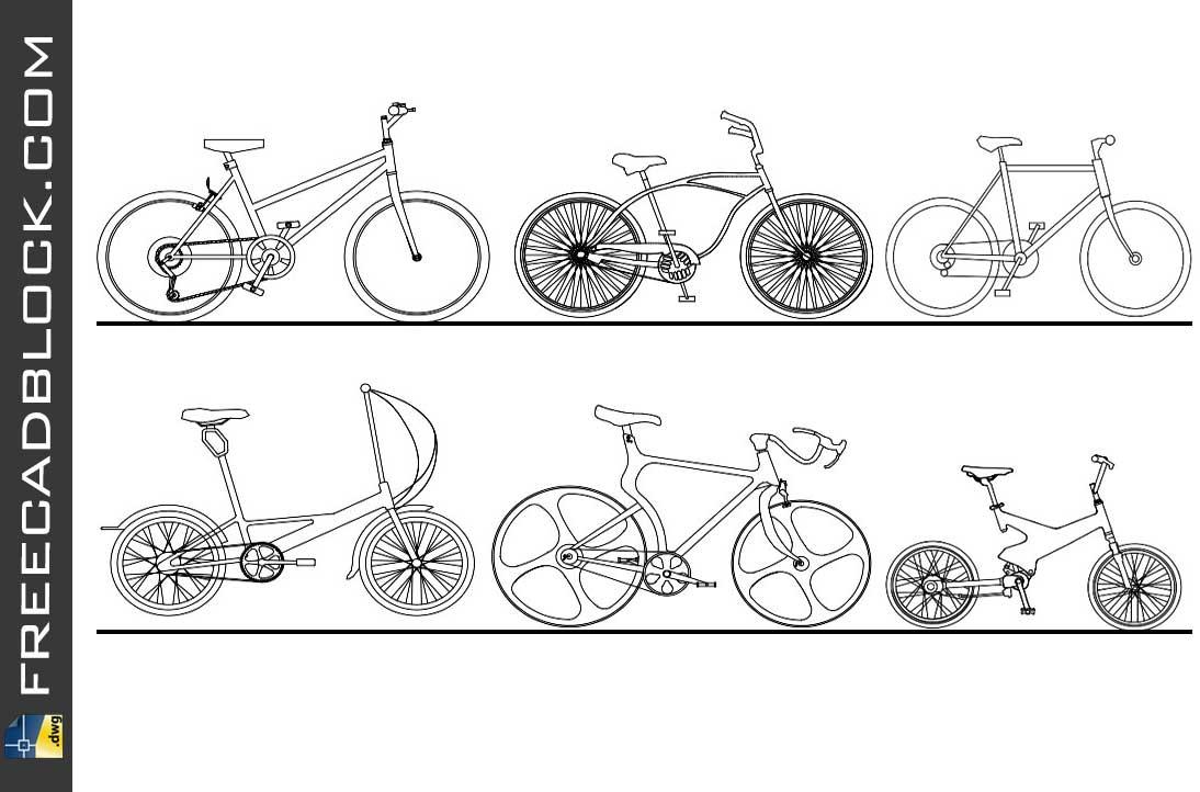 Drawing Bike cad block cad dwg
