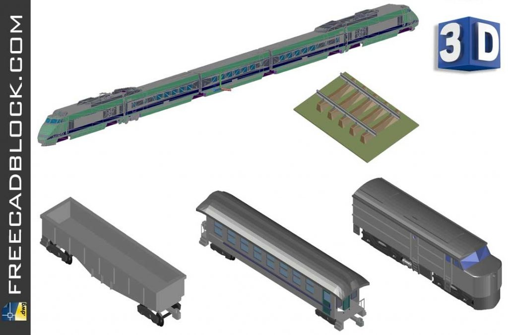 Drawing 3D Train dwg