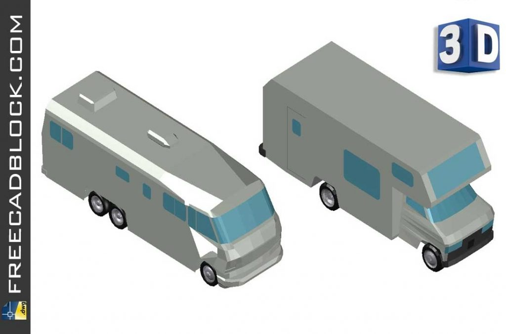 Drawing 3D caravans and campers dwg