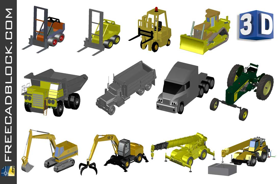 Drawing 3D Work vehicles dwg