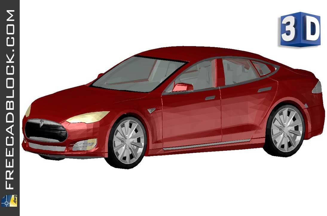 Drawing 3D Tesla Model S dwg